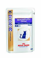 Royal Canin Sensitivity Control Feline 100 гр*12шт паучи с курицей - диета для кошек при пищевой аллергии