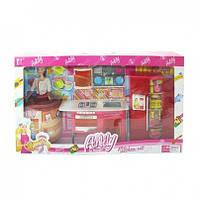Мебель игрушечная: кухня, холодильник, кукла,продукты,посуда