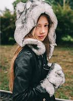 Шапка и перчатки из меха для девочек
