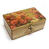 Шкатулка для мелочей деревянная Маки