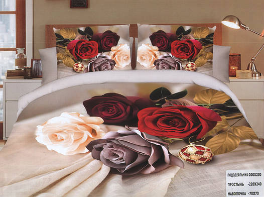 Комплект постельного белья (евро-размер) № 746