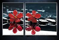 """Схема для вышивки бисером """"Красные орхидеи (диптих)"""""""