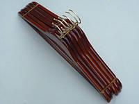 Плечики вешалки  тремпеля деревянные цвета светлой  вишни, длина 44,5 см, в упаковке 6 штук