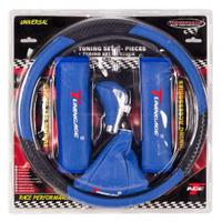 Набор 5в1 (оплетка руля+чехол кулисы КПП+ручка КПП+2 накладки на ремень безопасности) синий