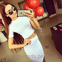 Костюм  топ + юбка мини белый