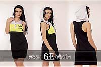 Модное спортивное платье с капюшоном Адидас борцовка