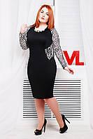 Женское нарядное платье больших размеров Адель цвет черный белый гипюр размер 54