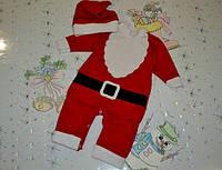 Новогодний костюм Санта, Костюм Деда Мороза для ребенка Футер с начесом