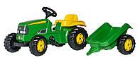Трактор педальный Kid John Deere с прицепом Rolly Toys зеленый