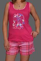 Пижама женская для дома комплект домашней одежды хлопковая майка и шортики Украина