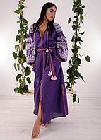 Вышитое женское платье сиреневого цвета