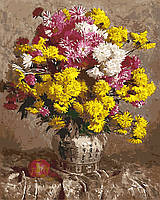 Картина по номерам на холсте без коробки Желтые хризантемы (BK-GX9367) 40 х 50 см