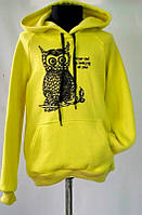 """Батник-свитшот подростковый """"Сова"""" лимонного цвета для девочек 6-12 лет"""
