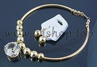 Комплект Dior под золото, колье с кристаллом и серьги