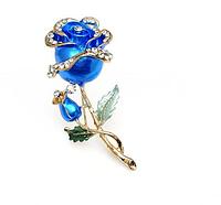 """Женская стильная брошка """"Цветок Роуз"""" синяя"""