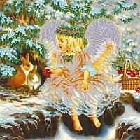 """Рисунок-схема для вышивки бисером на холсте """"Рождествий подарок"""" (30 х 30 см) AC-207 Abris Art"""