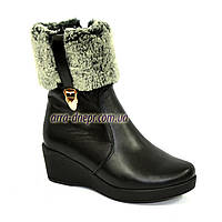 Ботинки женские кожаные зимние, декорированы опушкой, фото 1
