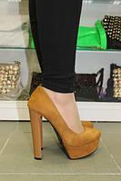 Туфли песочного цвета на устойчивом каблуке код 1011