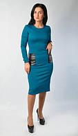 Модное женское платье длинны миди с вставками из эко-кожи