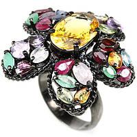 Стильное серебряное кольцо с цитрином и натуральными камнями