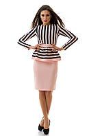 Костюм женский с юбкой розовый с черным, украшен баской S M L