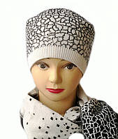Комплект женский вязаный шапка с помпоном и шарф Lion шерсть цвет белый