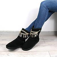 Угги женские Moschino черные Замша, зимняя обувь