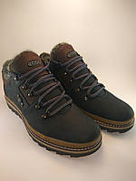 Ecco ботинки из натуральной кожи на меху чёрный с коричневым (зима)