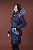 Зимняя женская молодежная куртка. Код К-83-36-17. Цвет темно синий.