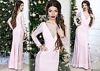 Женское роскошное платье в пол с легким шлейфом 901 / нежно-розовое