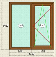 Окна металлопластиковые Veka Века, пятикамерный профиль, однокамерный стеклопакет, ламинацмя (орех), недорого