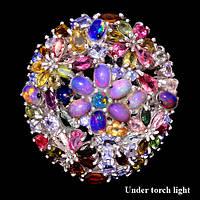 Огромное серебряное кольцо с натуральными камнями
