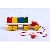 """Детская деревянная каталка-конструктор """"Машина грузовик"""" ТМ """"Руди"""" Разноцветный Ду-12"""