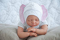 """Детская шапочка для новорожденного """"Зайка"""" розовая (шапочка с ушками) ТМ MagBaby Белый 102922"""