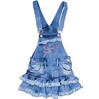 Сарафан джинсовый для девочки, стильный, голубой, YUKI (Юки), 104