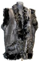 Утепленный женский жилет из кожи и овечьей шерсти