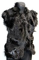 Женский молодежный жилет из овечьей шерсти и натуральной кожи