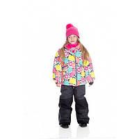 Зимний термокостюм для девочек 6-10 лет (куртка, полукомбинезон, манишка) ТМ Deux par Deux F 804-124