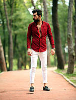Красивая мужская рубашка в клетку с двусторонним манжетом