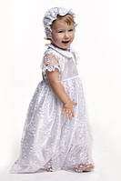 Комплект крестильный для девочки с гипюром белый (платье, шапочка, крыжма) Модный карапуз 03-00451-0