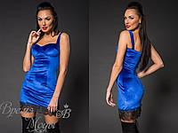 Молодёжное синее платье из бархата. 6 цветов.