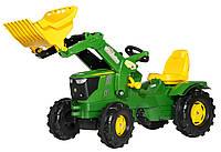 Педальный трактор с ковшом Rolly Toys Farmtrac John Deere 6210R зеленый