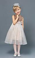 Праздничное платье с пайетками золотистое для девочки 3-5 лет, р. 98, 104, 110. ТМ Модный карапуз