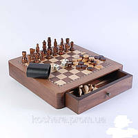 Набор: шахматы+нарды, орех 28,5х28,5