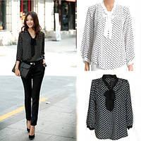 Легкая блузка в горошек
