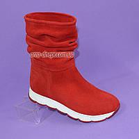 Женские красные замшевые демисезонные ботинки свободного одевания.