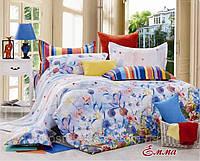 Постельное белье Эмма, сатин ТМ Идеал, голубой, цветы, растения, 1,5, 2-спальный, евро, семейный