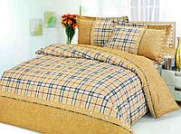 Постельное белье Барбара, сатин ТМ Идеал, розовый коричневый клетка 1,5, 2-спальный, евро, семейный