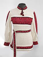 Вишиванка жіноча червона з пояском / вышиванка женская красная с пояском 0507