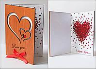 """Стильные открытки из дерева для любимой/любимого  """"Два сердца"""""""